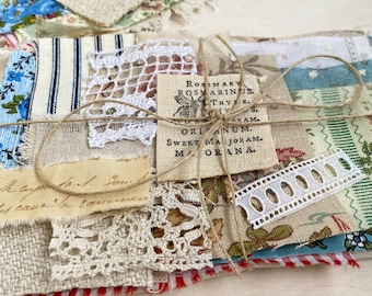 Mixed fabric bundle for slow stitching projects with some vintage and antique fabrics