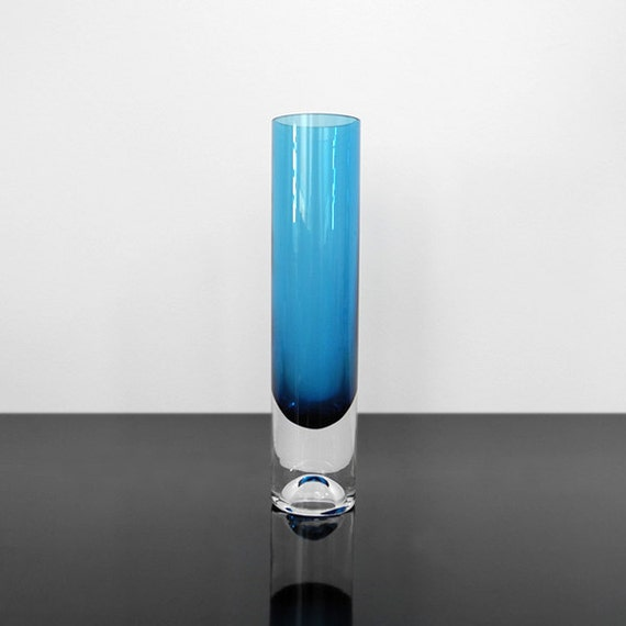 Cylindrical Glass Vase 70s Mid Century Vintage Etsy