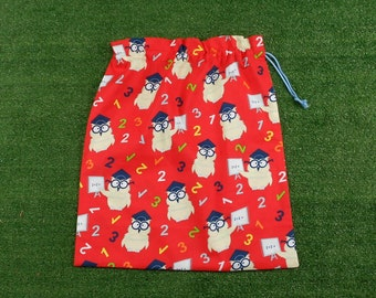 Back to school drawstring bag, owl school teachers red cotton drawstring bag, large library bag
