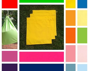 3 large cotton drawstring bags, in 16 colours + black or white, toy bag, library bag, games, puzzles