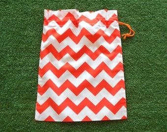 Small drawstring bag, orange & white chevron, small cotton gift bag, toy bag