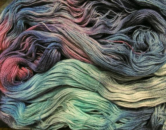 Alpaca Silk Lace 2ply Yarn Autumn Equinox Storm Elvincraft Hand Painted