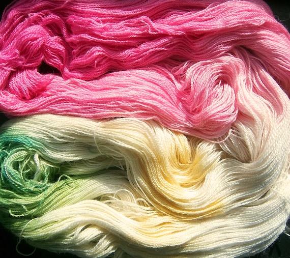 Alpaca Silk Lace 2ply Yarn Elvincraft Hand Painted Cherry Blossom