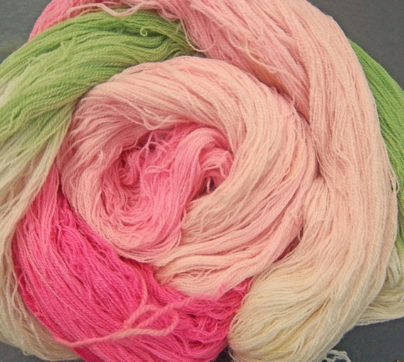Yarn Laceweight Merino/Silk/Cashmere Apple Cherry Blossoms Elvincrafts Hand Painted