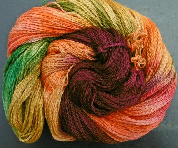 Merino Organic Wool 4ply sock Autumn Blackthorn Elvincrafts Hand Painted