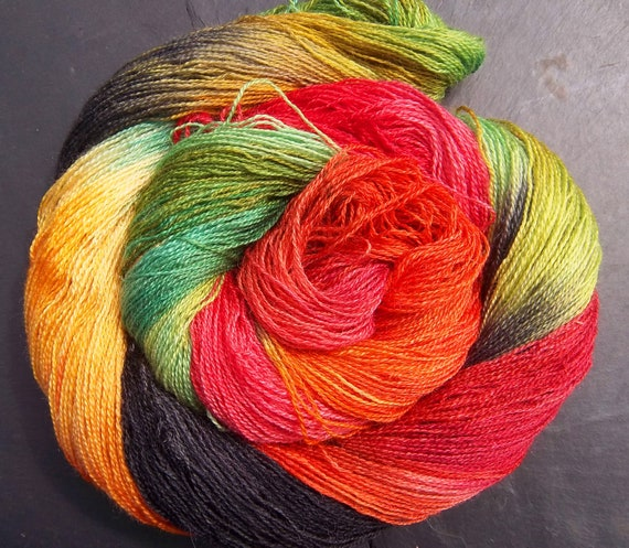 BFL Wool Tussah Silk Laceweight 2/3 ply yarn Elvincraft's Red Dragonfly