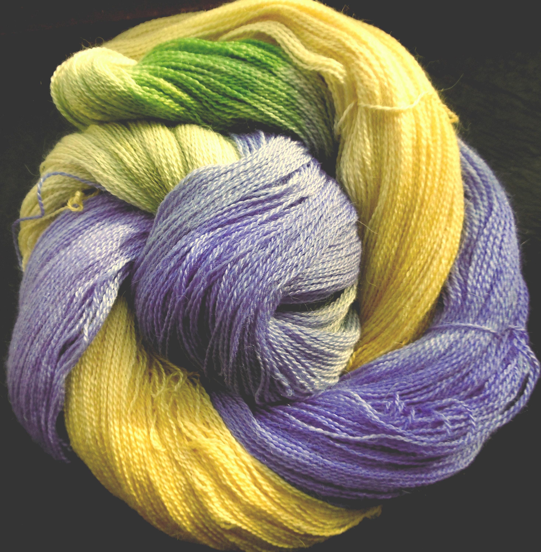 Alpaca Silk Lace 2ply Yarn Northern Lights Elvincraft Hand Painted