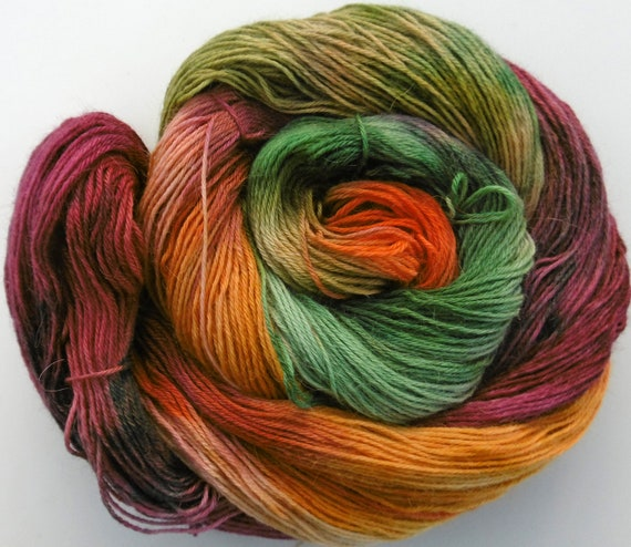 Baby Alpaca 4ply sock Yarn Autumn Blackthorn Elvincraft Hand Painted