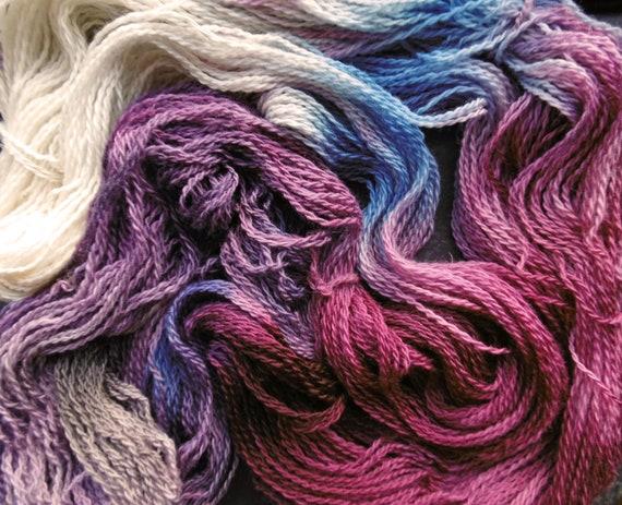 Merino Organic Wool 4ply sock Elderberry Moon Elvincrafts Hand Painted