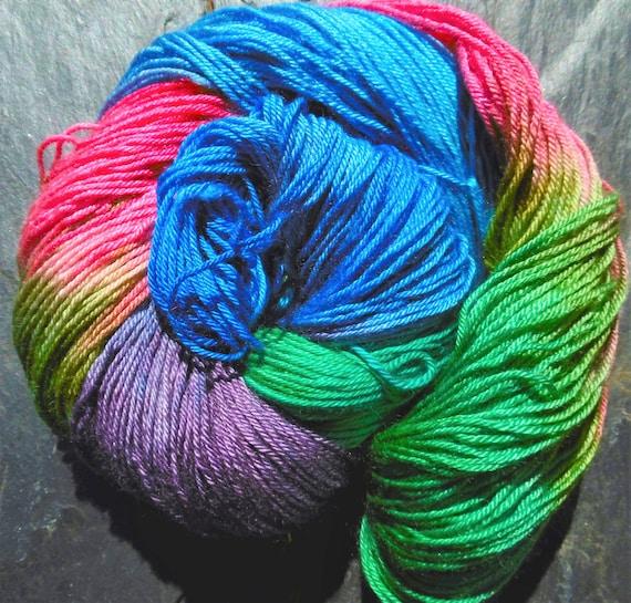 Hand Dyed Silk BFL Fingering Sock Yarn in Sapphire Blue