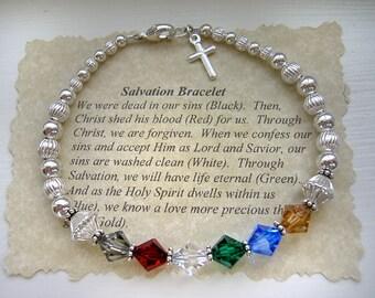 STERLING Silver SALVATION Prayer Bracelet Swarovski Crystal wtih Cross Charm