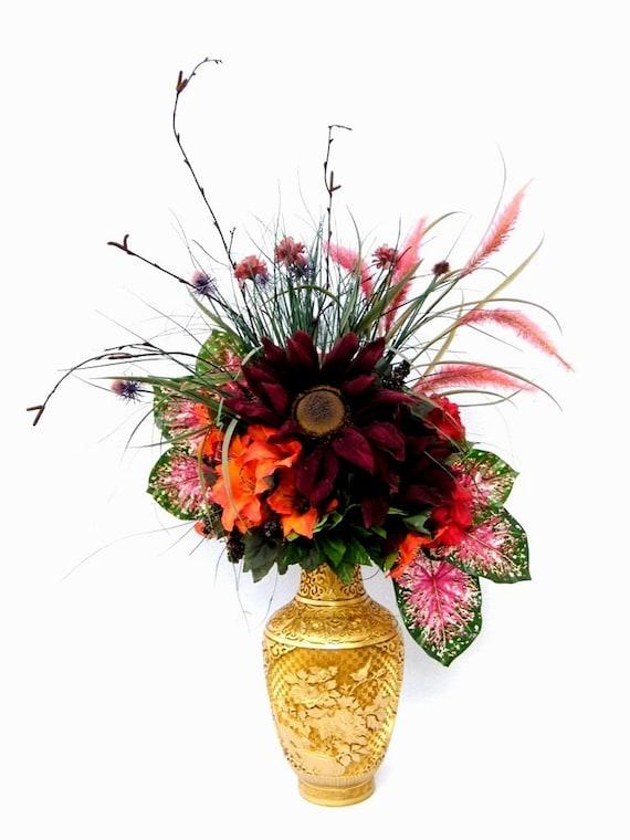 Fall Bouquet Centerpiece Silk Flower Arrangement Sunflowers Etsy