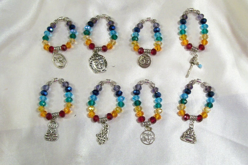 Chakra Spiritual Statement Fashion Crystals Wine Glass Charms 8 Or More Available You Pick Now