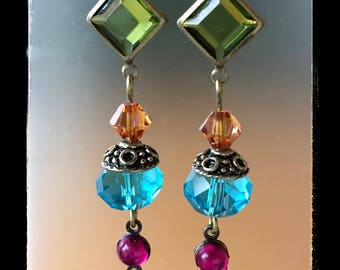 VINTAGE JEWEL EARRINGS multicolor crystal dangle brass lever backs