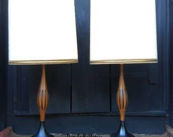 mid century lamp. Pair Of Mid Century Modern Walnut Lamps - Laurel Danish Lamp