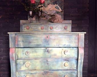 Bohemian Dresser - Painted Dresser - Rustic Farmhouse Dresser - Vintage Dresser - Shabby Chic Dresser - Chalk Paint Dresser - Empire Dresser