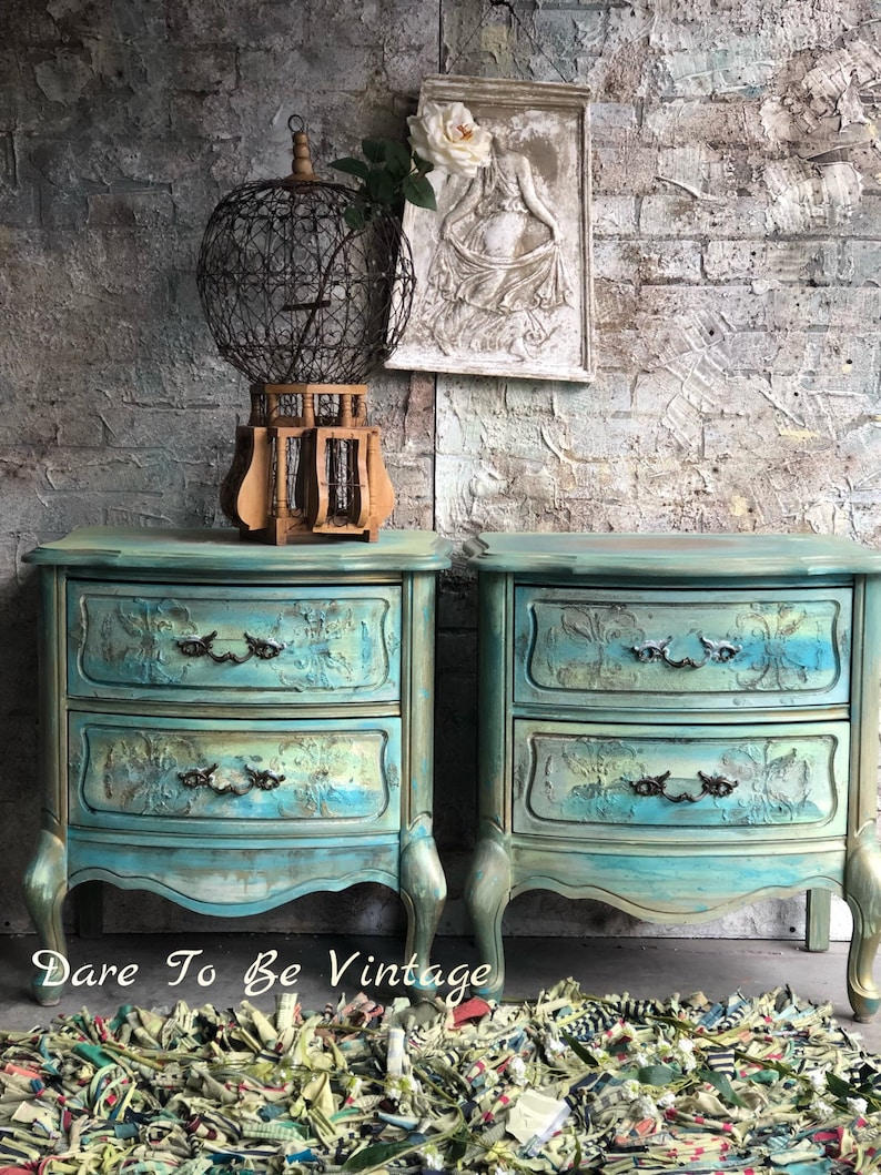Sold French Provincial Nightstands Side Tables Painted Nightstands Bohemian Nightstands Shabby Chic Vintage Blue Bed Side Tables
