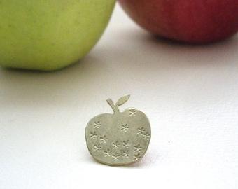 Apple pin brooch, Apple pin badge, Shawl pin, Sweater pin, Scarf pin, Hat pin, Brass brooch pin, Teacher's gift, Gold brooch, Apple brooch