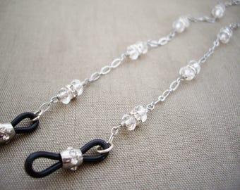 Eye glasses chain, Glasses chain with gems, Silver glasses chain, Crystal chain, Sunglasses lanyard, Sunglasses chain, Eye wear jewelry