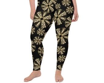 High Waist Plus Size Leggings , Black Sea Urchin Print