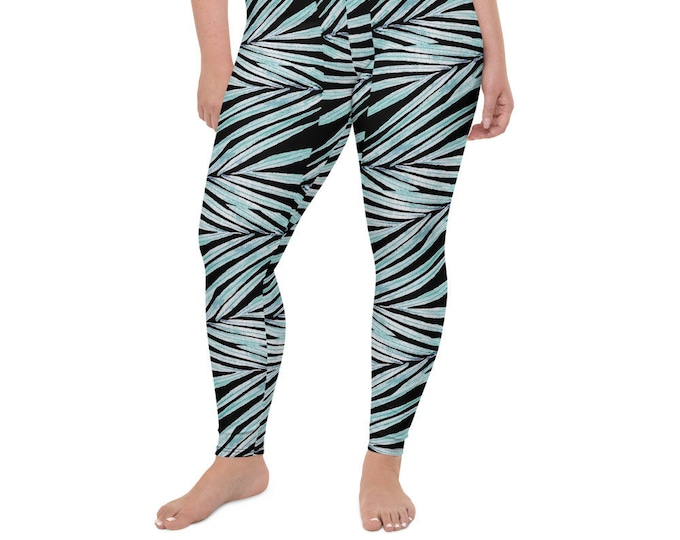 High Waist Plus Size Leggings , Black Palm Leaf Print