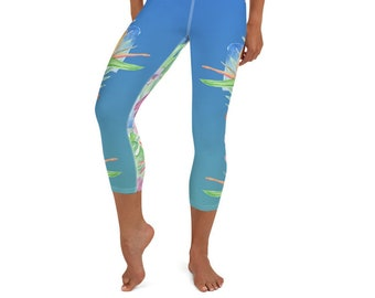 Yoga Capri Leggings Hawaiian Print