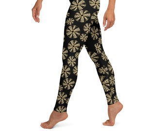 High Waist Yoga Leggings, Black Sea Urchin Print