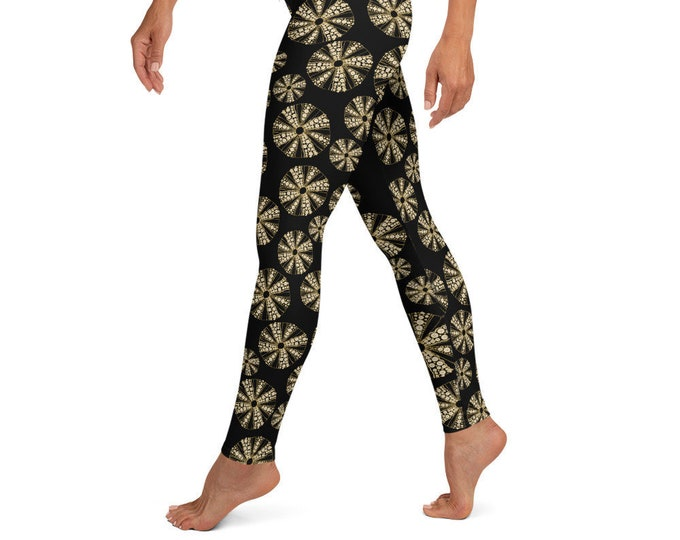High Waist Yoga Leggings, Black Sea Urchin Print
