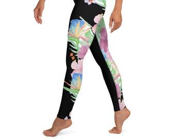 High Waist Yoga Leggings Black Tropical Print