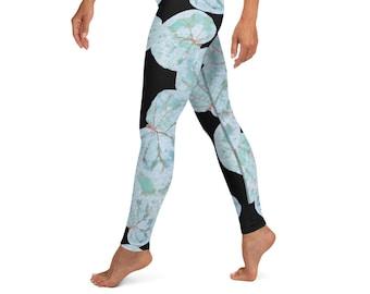 High Waist Yoga Leggings, Black Sea Grape Print