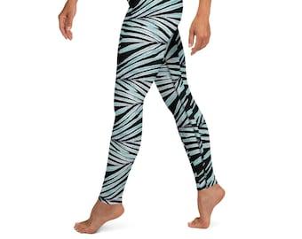 High Waist Yoga Leggings, Black Palm Leaf Print