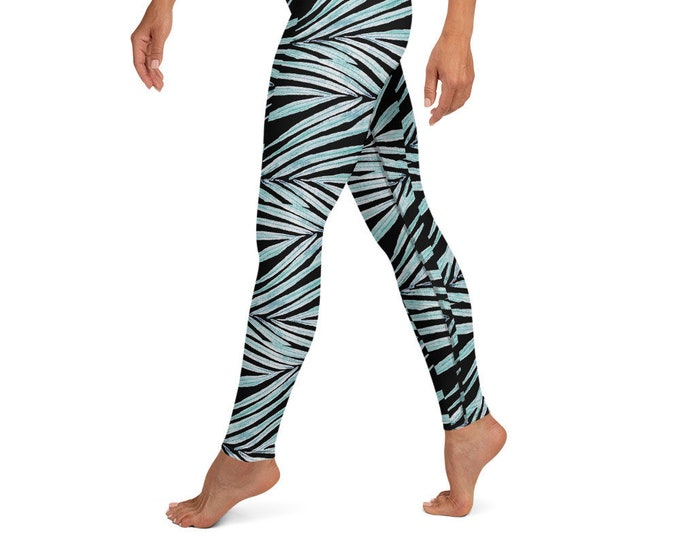 High Waist Yoga Leggings, Black Palm Leaf Print