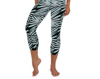 Yoga Capri Leggings Black Palm Leaf Print