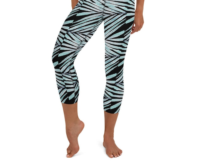 Yoga Capri Leggings Black Palm Leaf Print