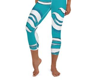 Yoga Capri Leggings, Mother Ocean Print , Wave Print , High Waist