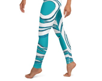 Yoga Leggings, Mother Ocean Print , Wave Print