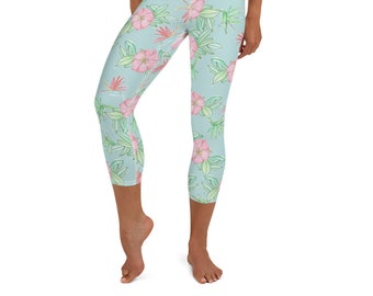 Yoga Capri Leggings Tropical Floral Print