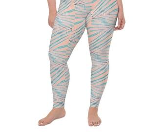 High Waist Plus Size Leggings, Palm Leaf Print