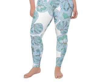 High Waist Plus Size leggings, Sea Grape Print , Tropical Leaves