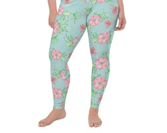 High Waist Plus Size Leggings, Hawaiian Print, Floral Print