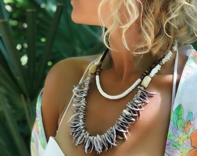 Vintage Puka and Tiger Cowrie Shell Necklaces