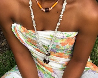 Vintage long cowrie shell necklace and short beaded necklace