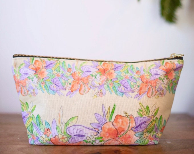 zipper pouch yellow hawaiian flowers print