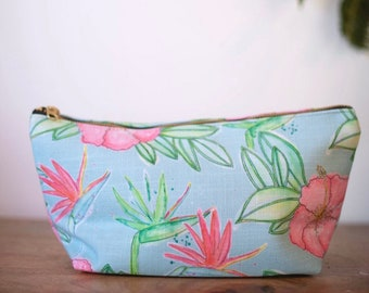 floral makeup bag aqua hibiscus and birds of paradise