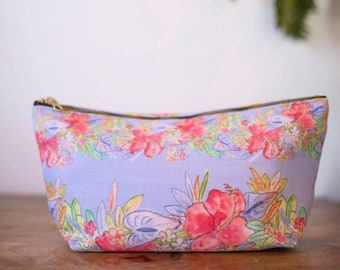 floral makeup bag periwinkle hawaiian print