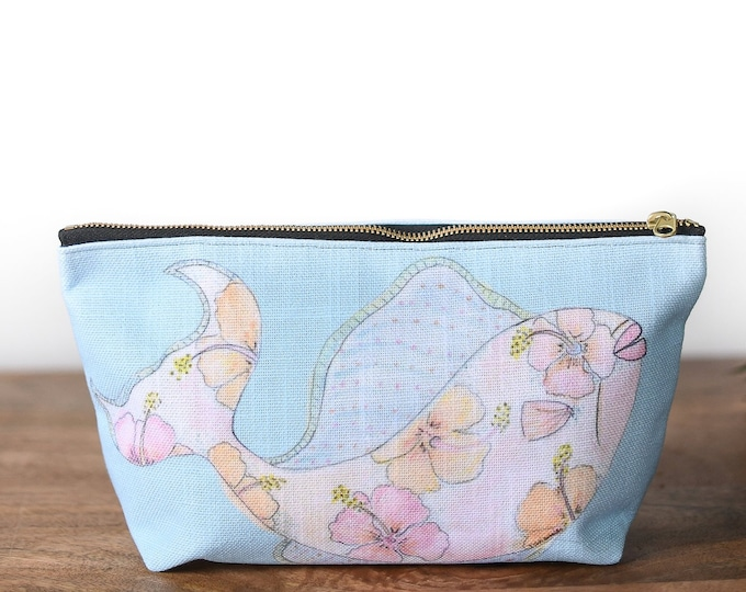 floral makeup bag fish tropical print