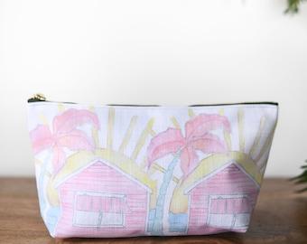 zipper pouch beach shack  tropical print