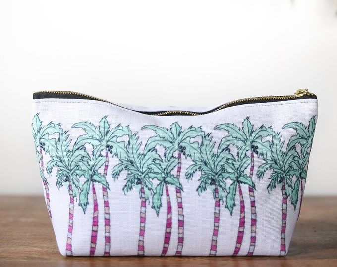 zipper pouch palm tree tropical print