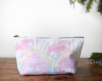 zipper pouch beach shack  tropical print