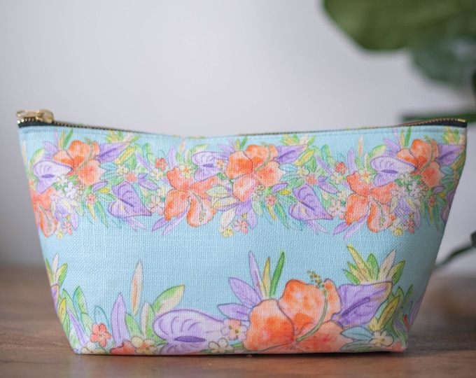 zipper pouch turquoise hawaiian flowers print